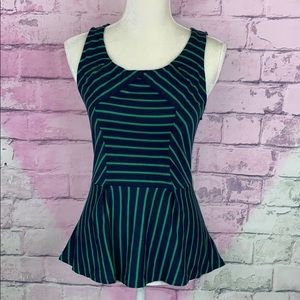 Anthropologie Leifnotes striped peplum hem top S